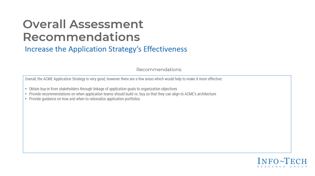 Overall Assessment Recommendations