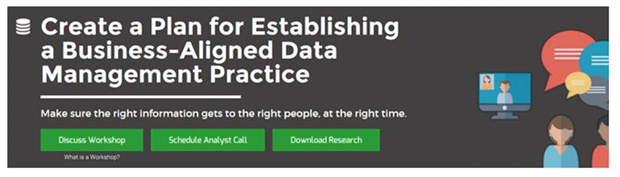 A screenshot of Info-Tech's Create a Plan for Establishing a Business-Aligned Data Management Practice blueprint