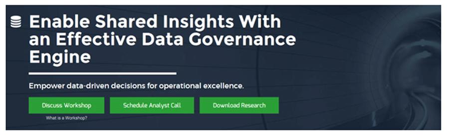 A screenshot of Info-Tech's Enable Shared Insights with an Effective Data Governance Engine blueprint.