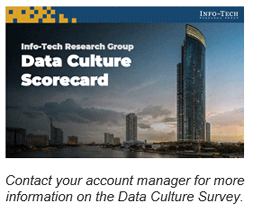 A screenshot of Info-Tech's Data Culture Scorecard. Contact your account manager for more information on the Data Culture Survey.