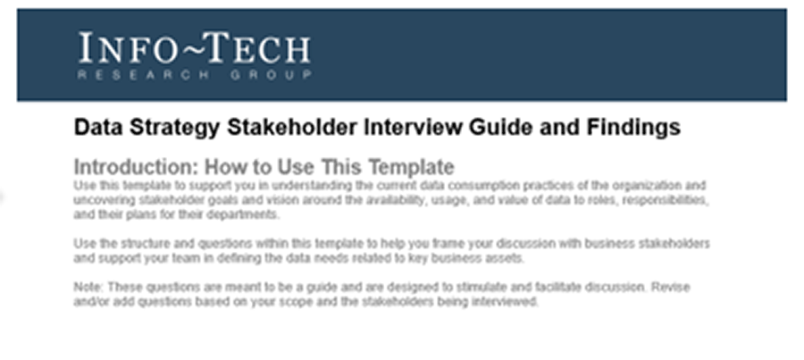 A screenshot of Info-Tech's Data Strategy Stakeholder Interview Guide and Findings.