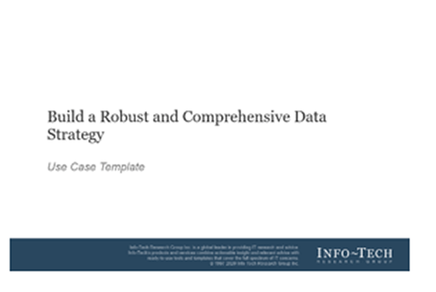 A screenshot of Info-Tech's Data Strategy Use Case Template