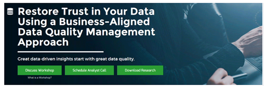 A screenshot of Info-Tech's Restore Trust in your Data Using a Business-Aligned Data Quality Management Approach blueprint