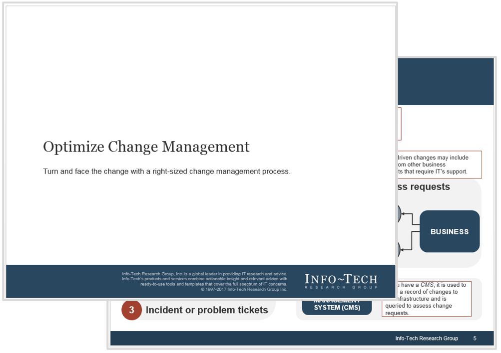 Screenshot of Info-Tech's Optimize Change Management blueprint