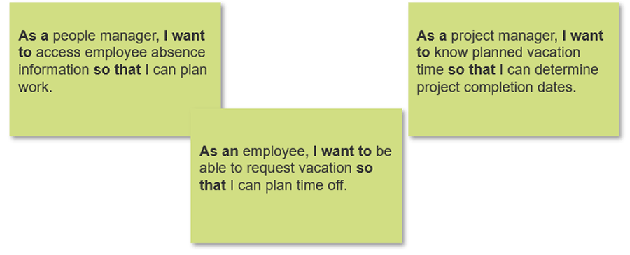 Example scenario of build user stories for activity 3.4.2