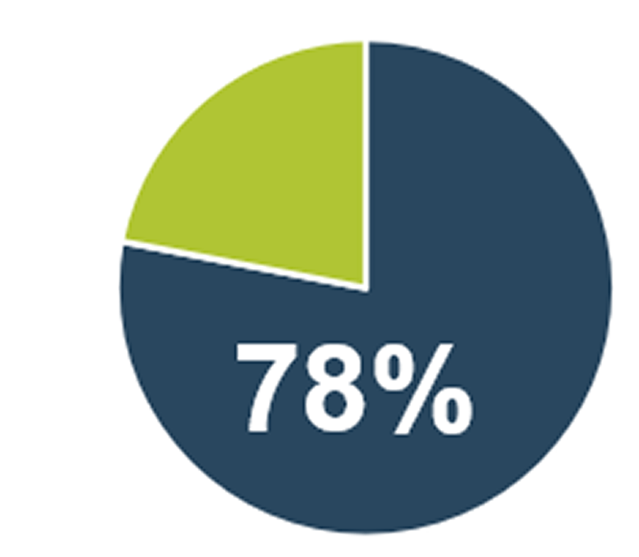 A circle graph is displayed and is labelled as 78%