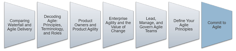 An image is shown that lists the key aspect to lead and manage Agile. The second step that is highlighted is: Commit to Agile