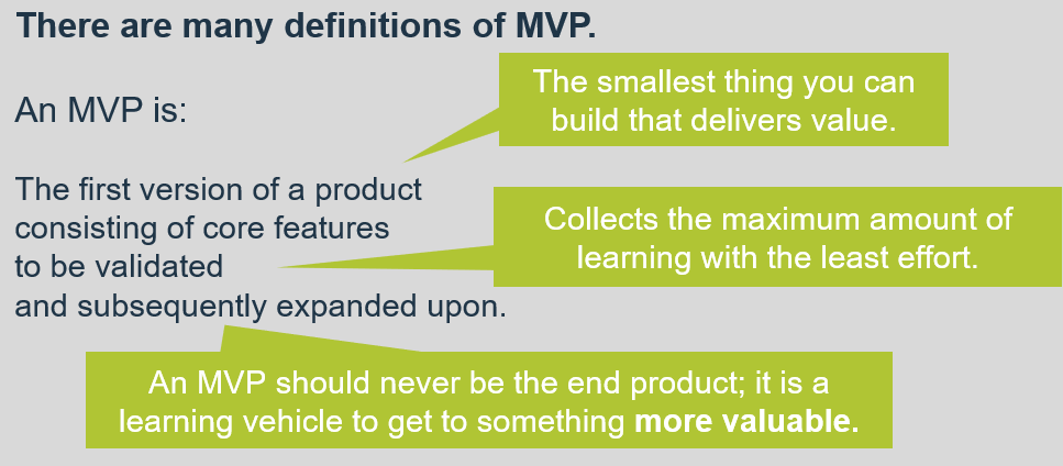 A textbox is shown with a definition of MVP, and the definition has additional explanations.