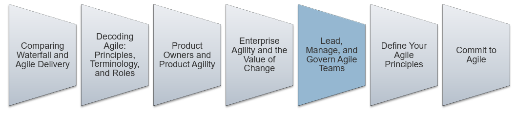 An image is shown that lists the key aspect to lead and manage Agile. The fifth step that is highlighted is: Decoding Agile: Lead, Manage, and Govern Agile Teams