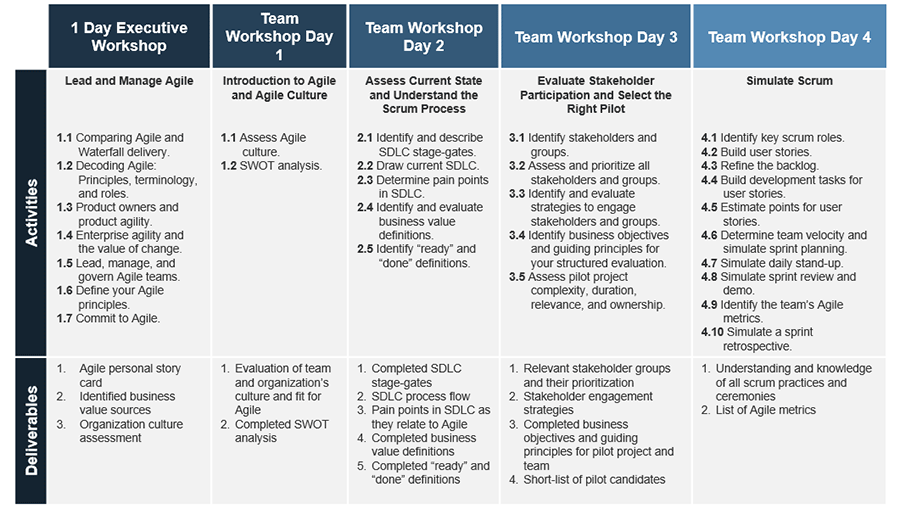 An overview of the four day workshop in this blueprint, it outlines the activities and deliverables.
