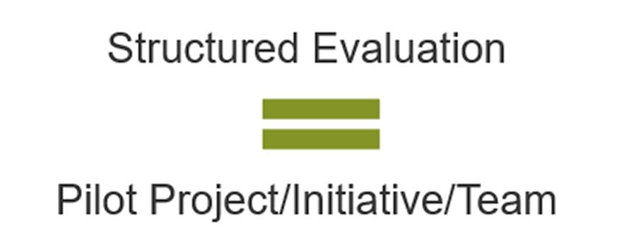 Structured Evaluation = Pilot Project/Initiative/Team