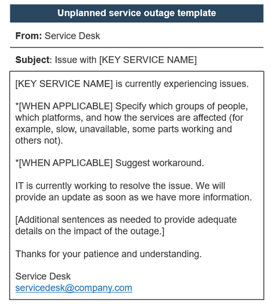 Image shows template of unplanned service outage.