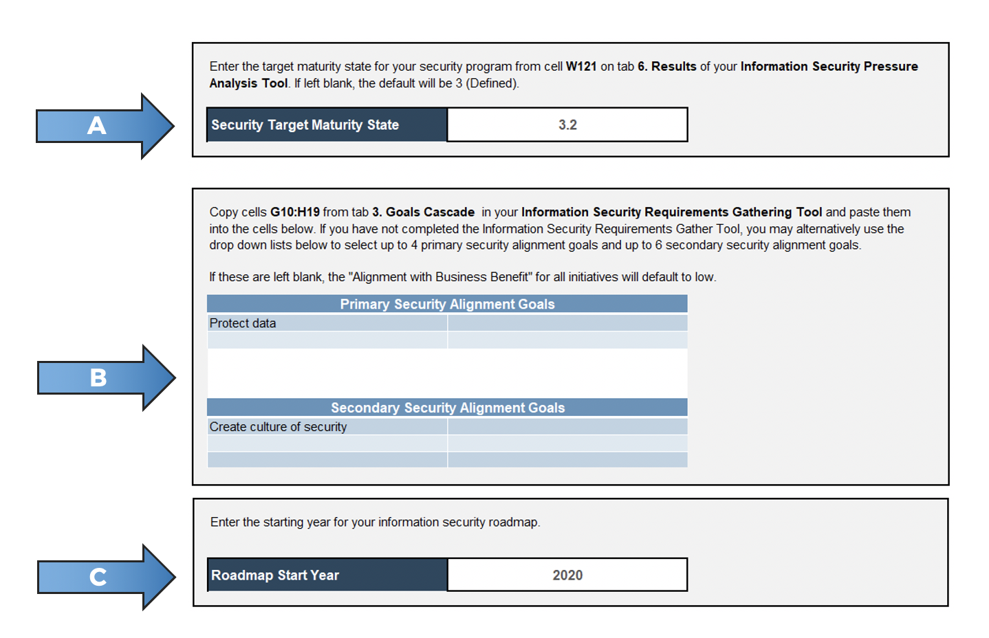 A screenshot showing the 'Setup' tab of the 'Information Security Gap Analysis Tool.'
