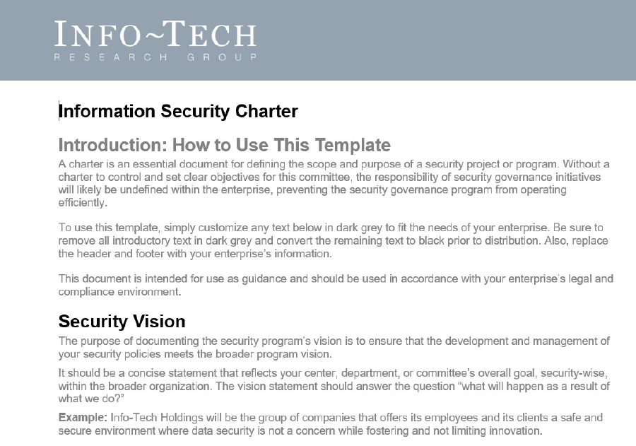 A screenshot of the introduction of the 'Information Security Charter' template.