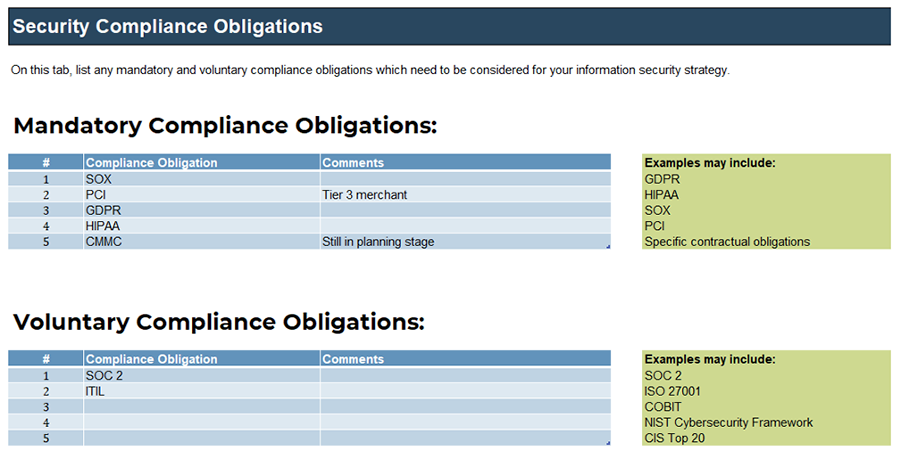 A screenshot of 'Security Compliance Obligations,' part of the 'Information Security Requirements Gathering Tool.'