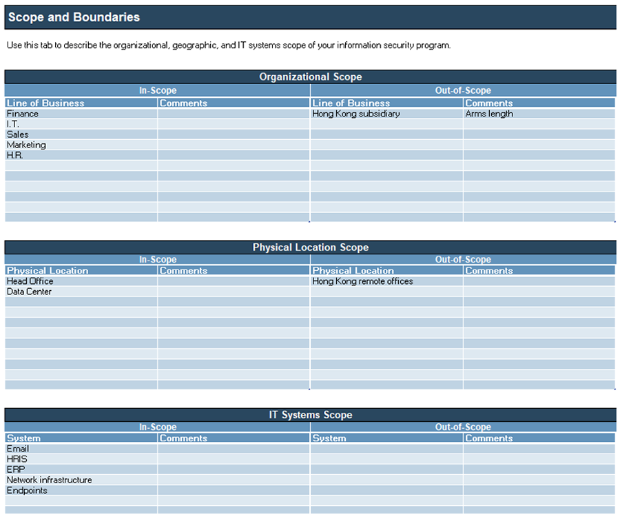 A screenshot of 'Scope and Boundaries,' part of the 'Information Security Requirements Gathering Tool.'