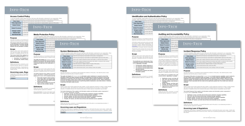 There are six screenshots of Info-Tech's policy templates.