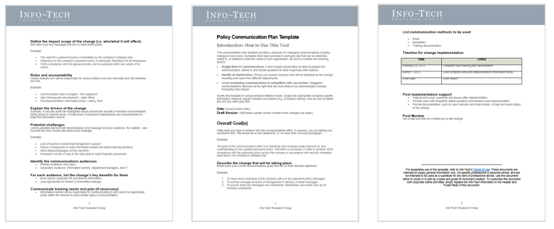 There are three screenshots of Info-Tech's Policy Communication Plan Template