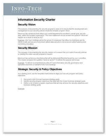 Screenshot of Info-Tech's Information Security Charter