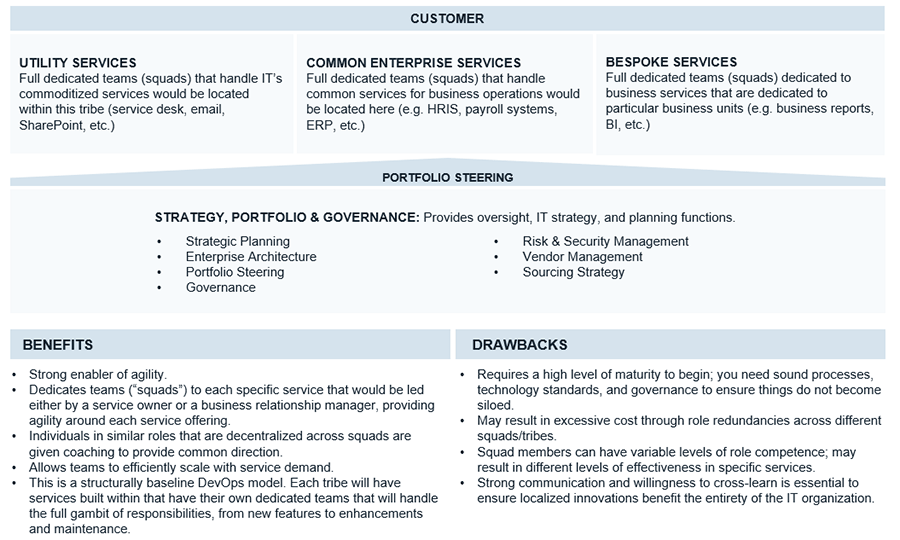 An example of a hybrid operating model with the service-aligned-operating component