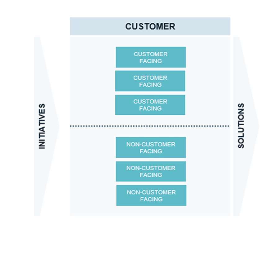 Example model that includes the line between IT capabilities that will and will not interface with the customer