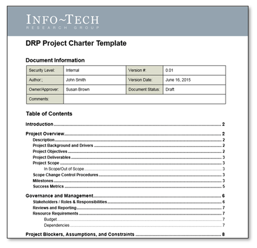 The image is a screenshot of the first page of the DRP Project Charter Template.