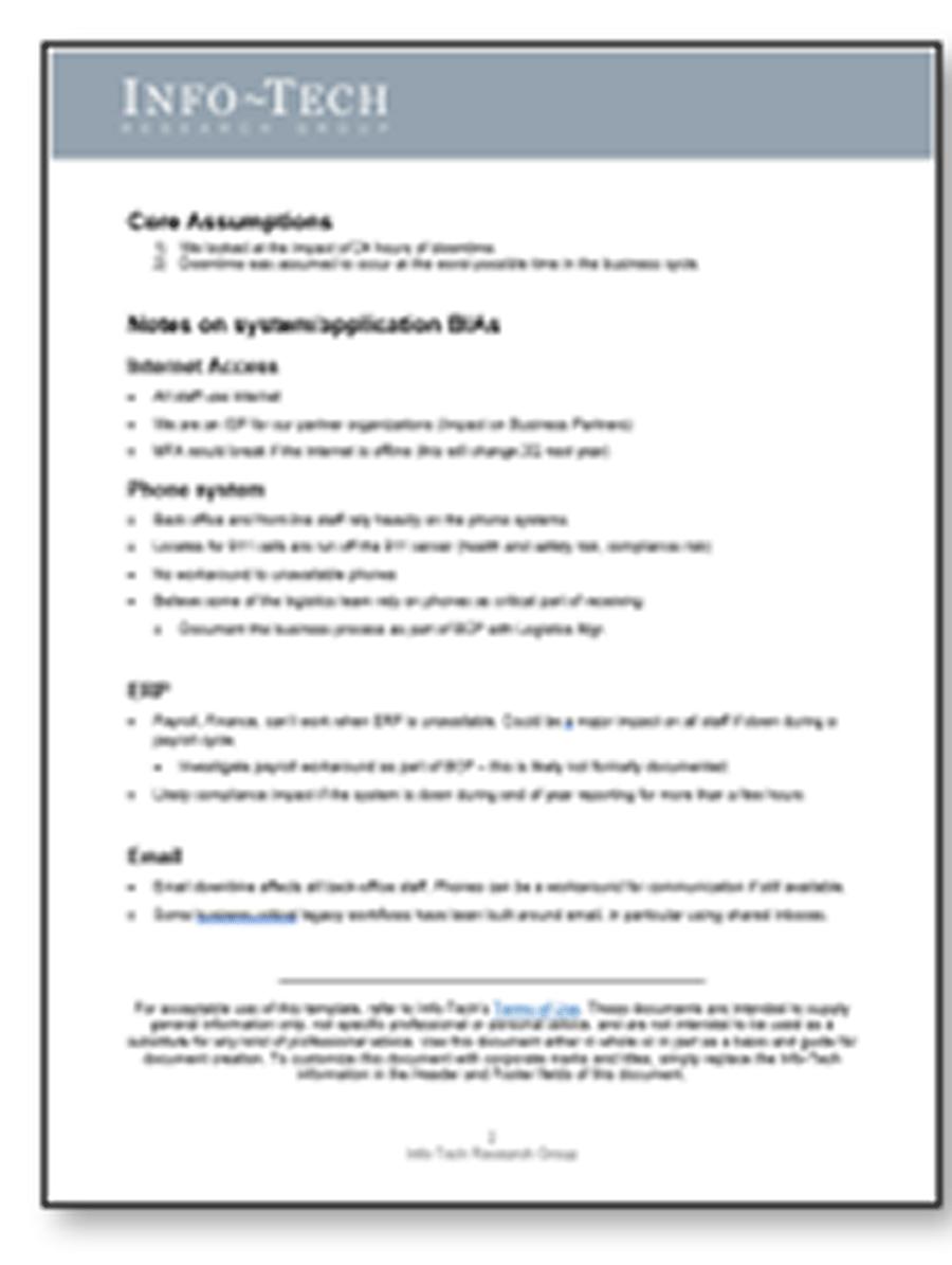 Screenshot of Info-Tech's DRP BIA Scoring Context Example
